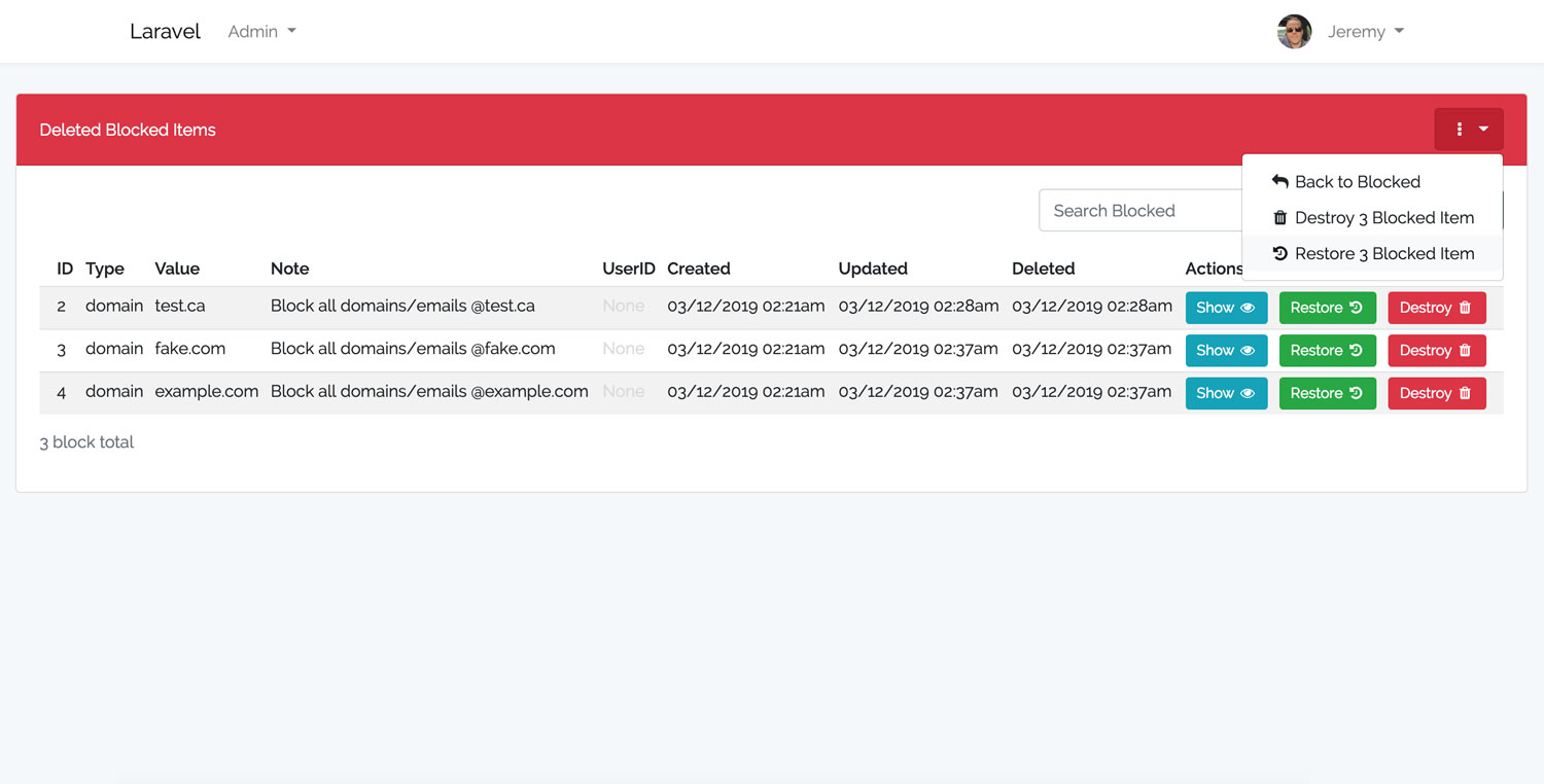 Laravel Blocker Deleted Dashboard