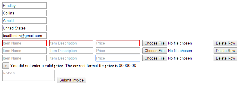 jquery function append causes no validation