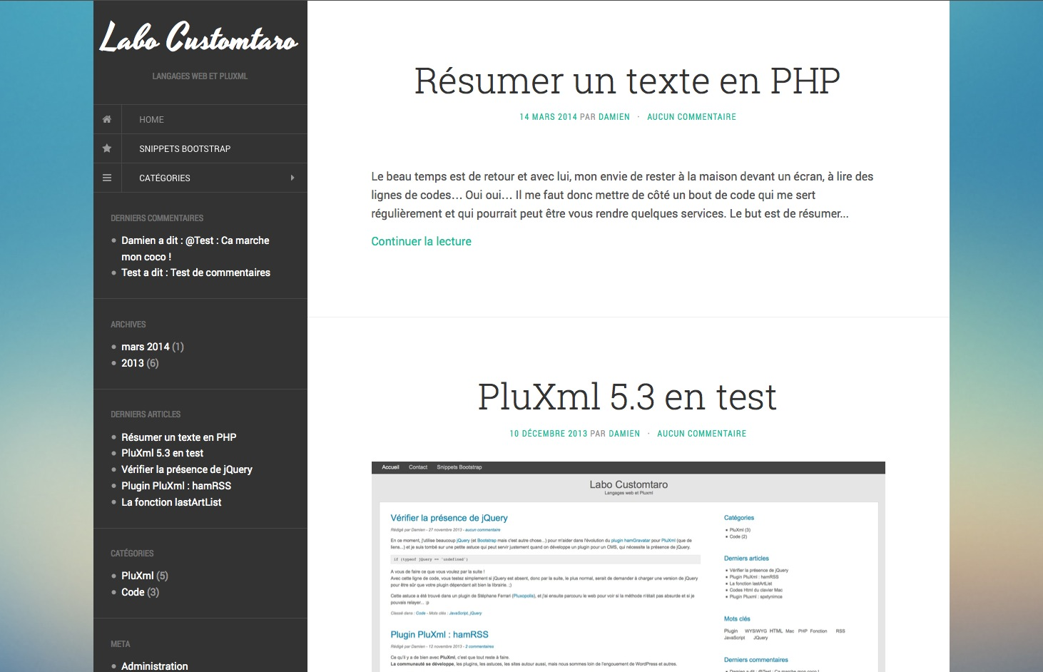 Screenshot PluXml french version