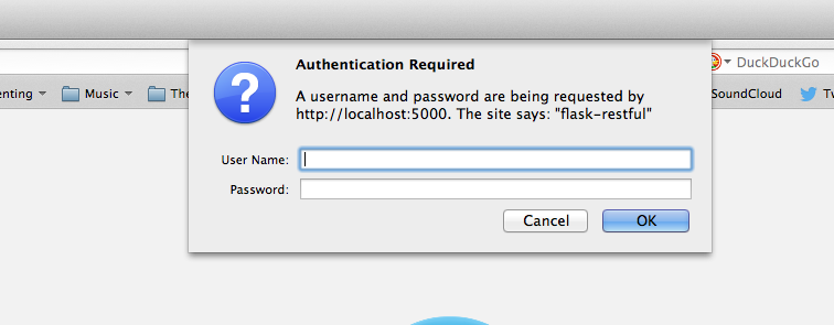flask-restful requires username and password, but I never