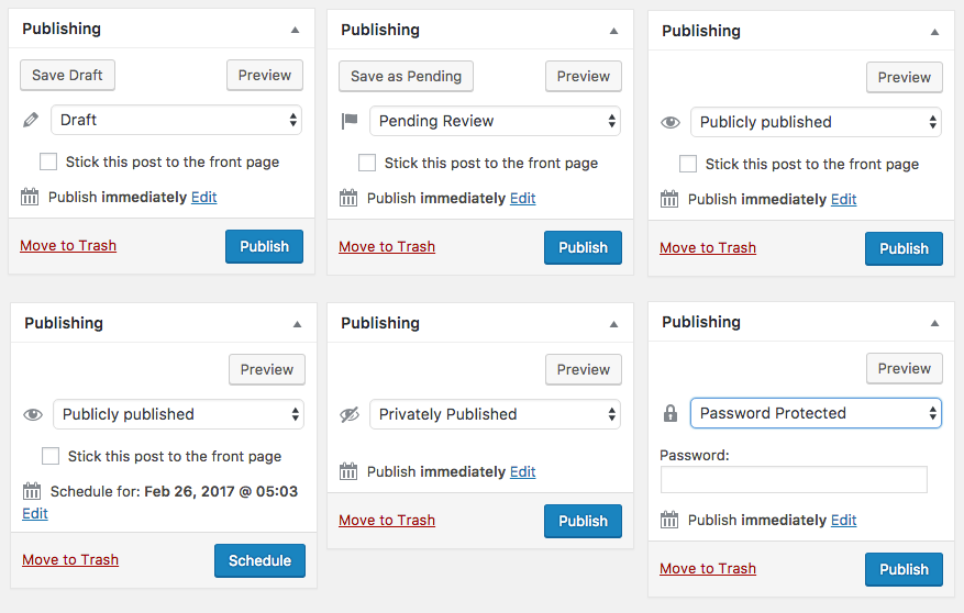 Built in statuses in the Publishing Metabox