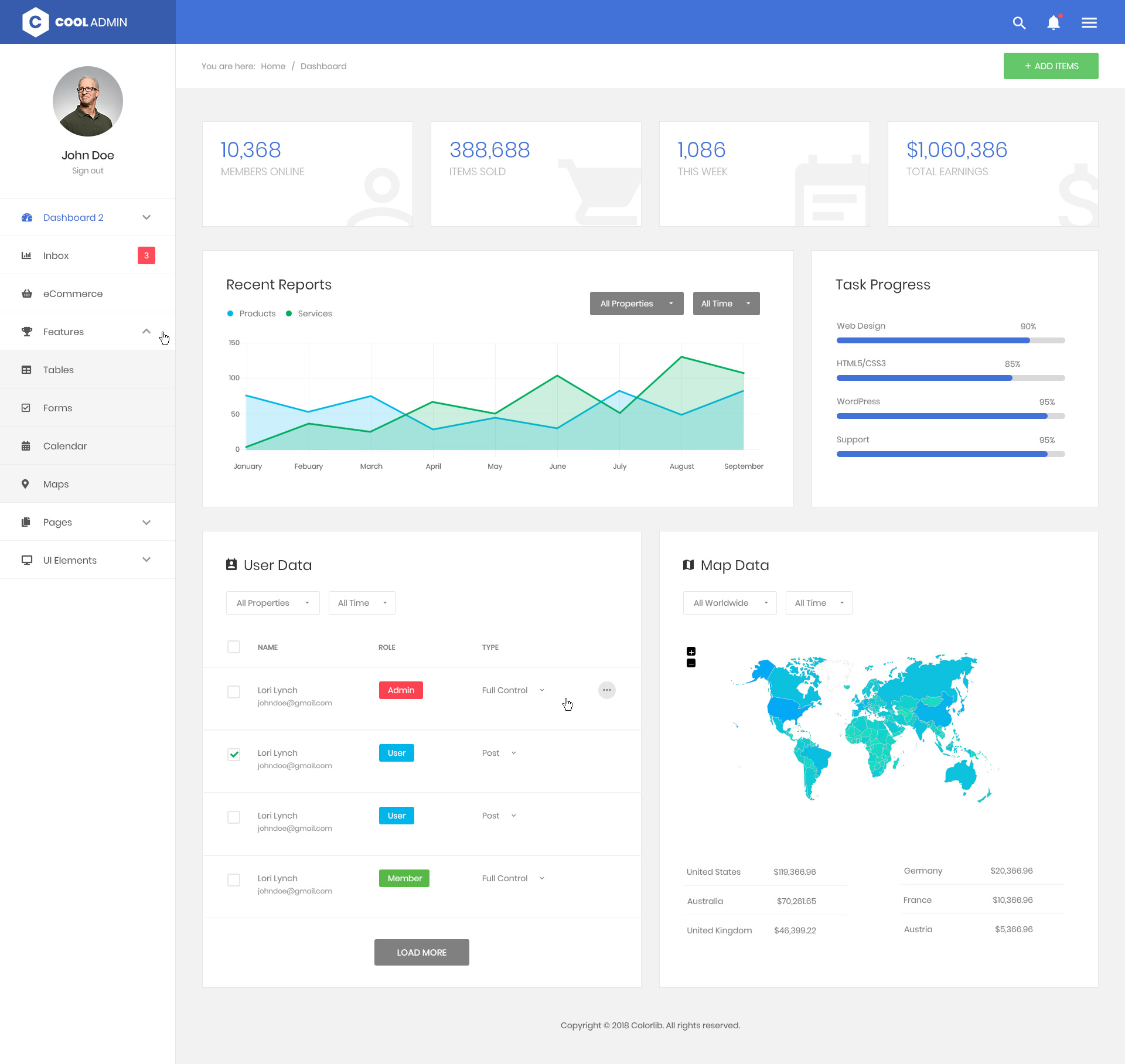 CoolAdmin admin dashboard template preview