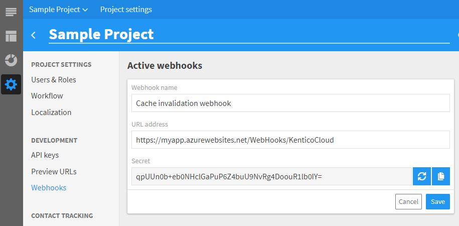 New webhook configuration