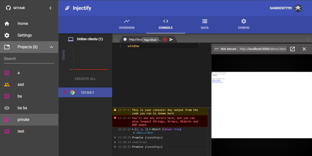 Screenshot of the Injectify UI