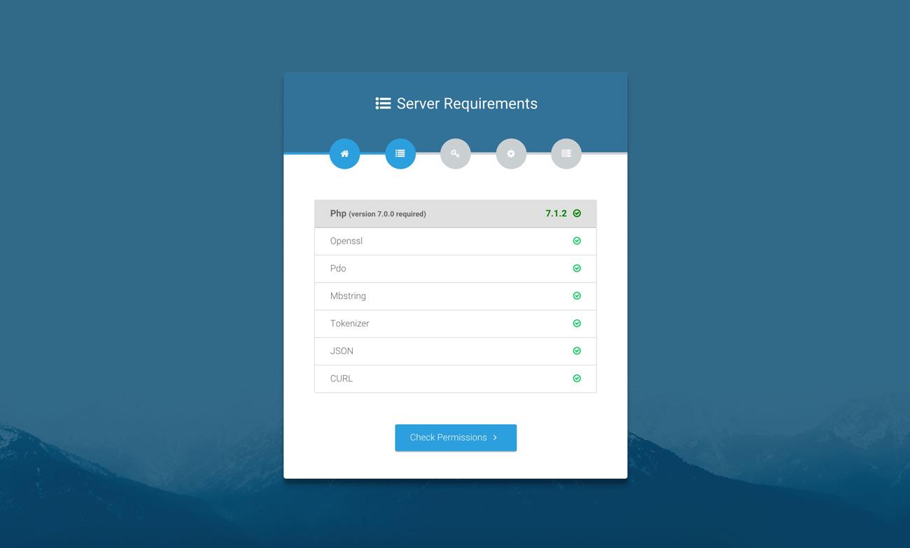 Laravel web installer | Step 2