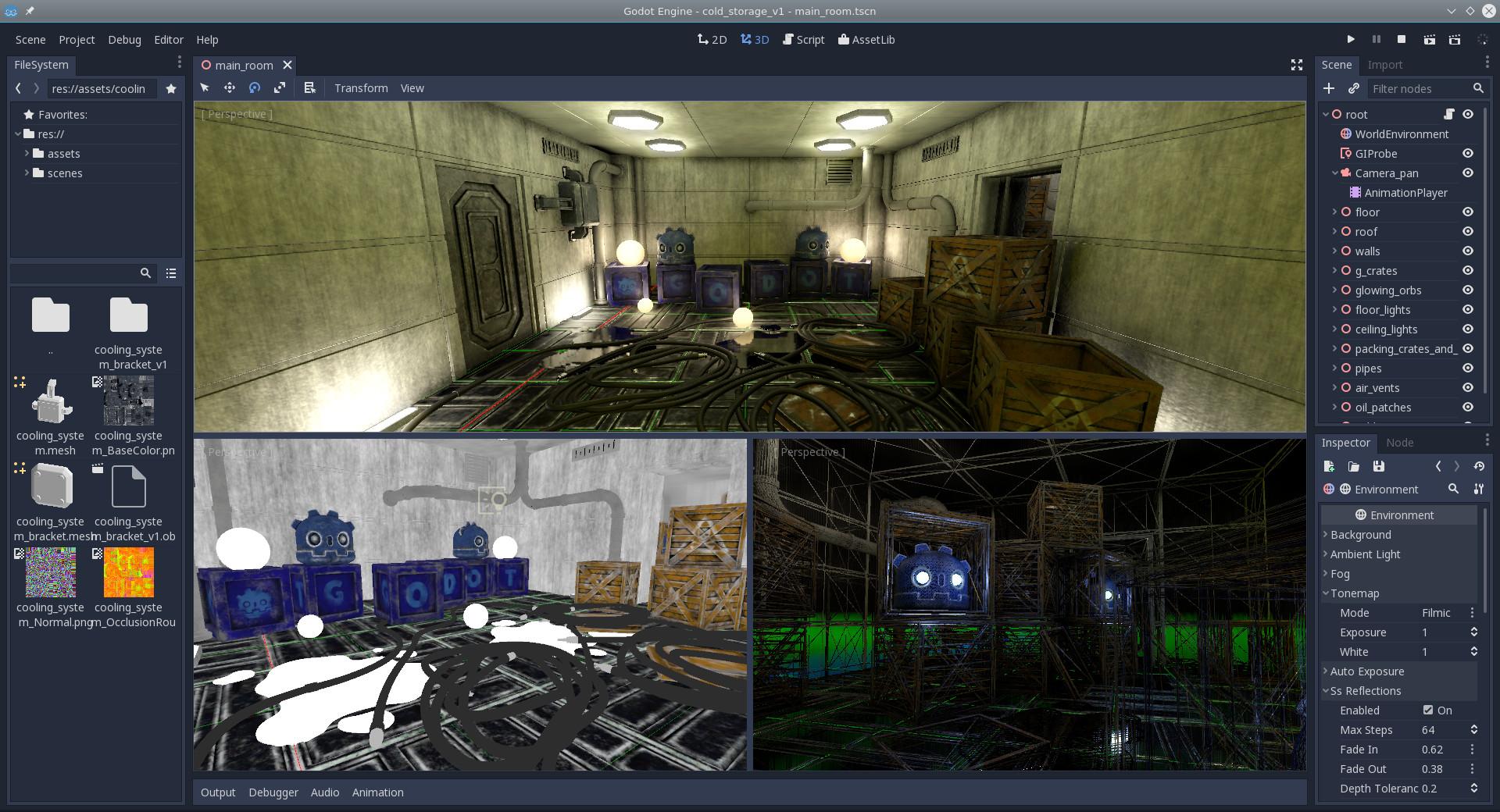 Screenshot of a 3D scene in Godot Engine