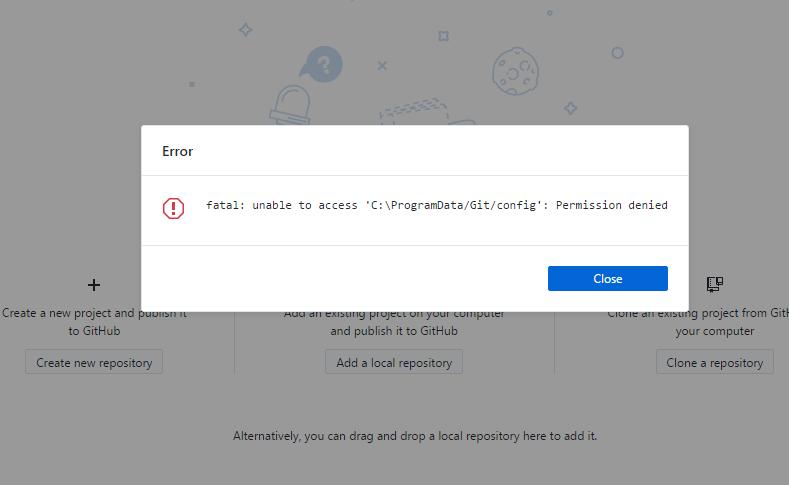 fatal: unable to access 'C:\ProgramData/Git/config