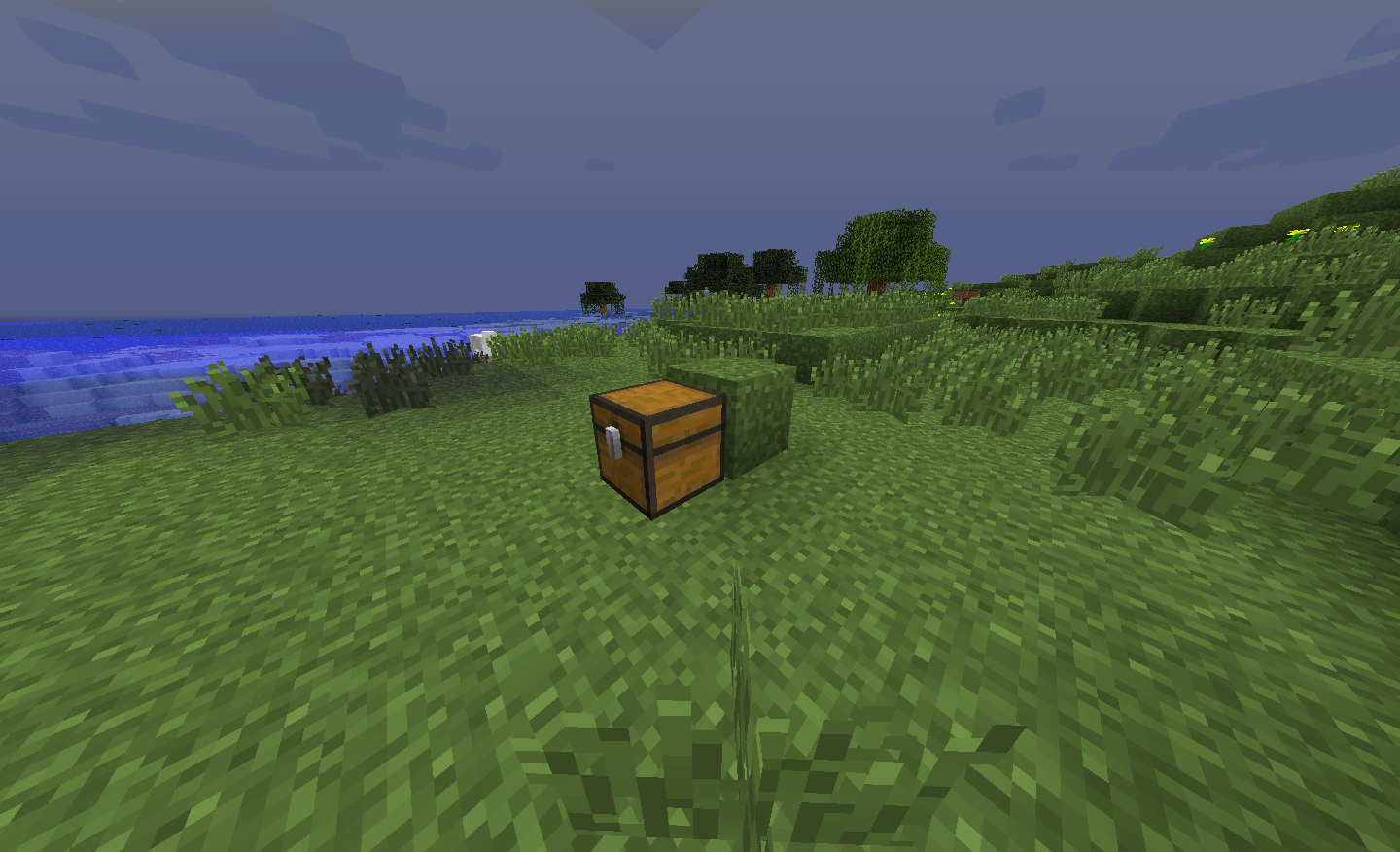 Another image showing a button on a block behind a chest.