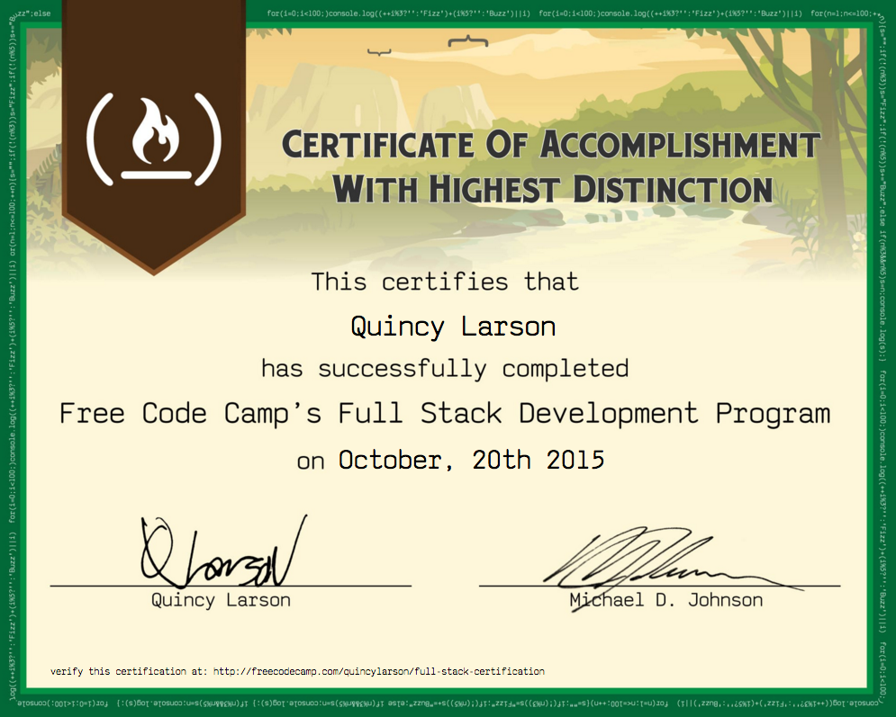 Freecodecamp wikifree code camp full stack development an image of a sample front end development certificate yelopaper Image collections