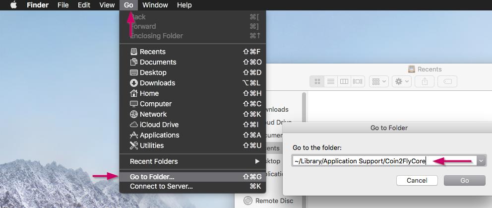 Go to Folder, macOS