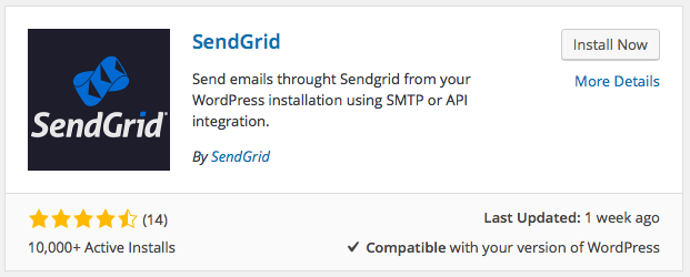 Search for SendGrid plugin
