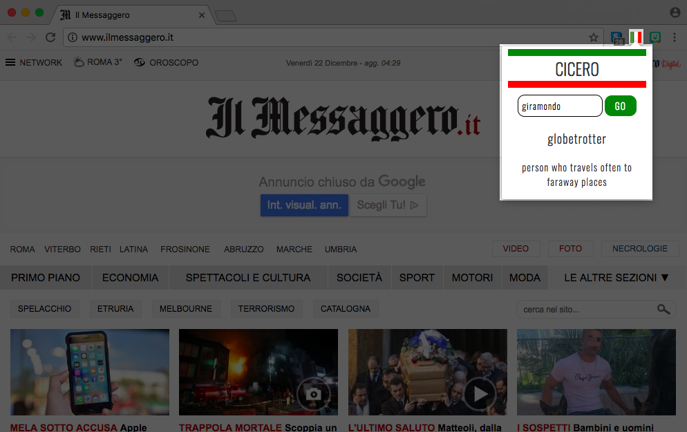 Screenshot of the Cicero extension open on an Italian news site