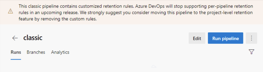 Removal of per-pipeline retention policies in classic builds