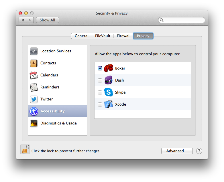 Screenshot of OS X 10.9 Security & Privacy Preferences panel