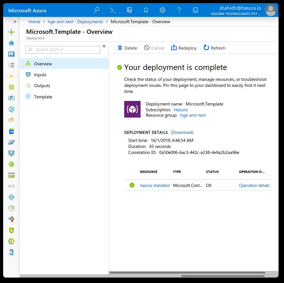 Azure Portal deployment screen screenshot