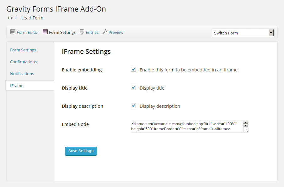 Form Iframe Settings Screenshot
