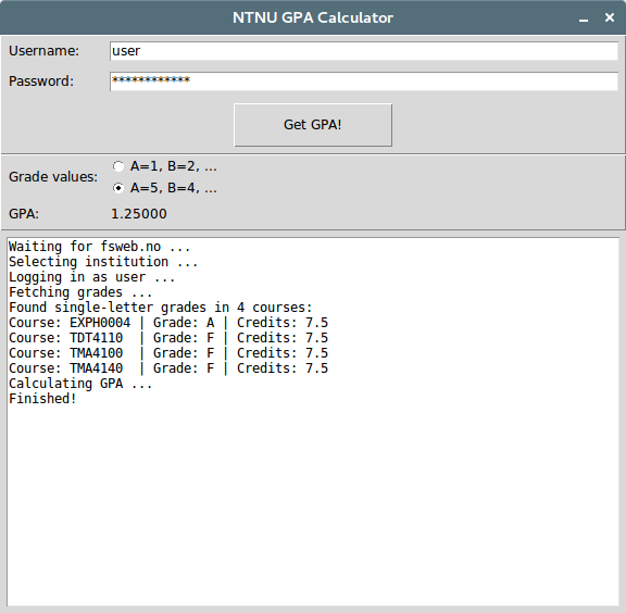 GitHub - stekern/ntnu-gpa-calculator: NTNU grade fetcher and