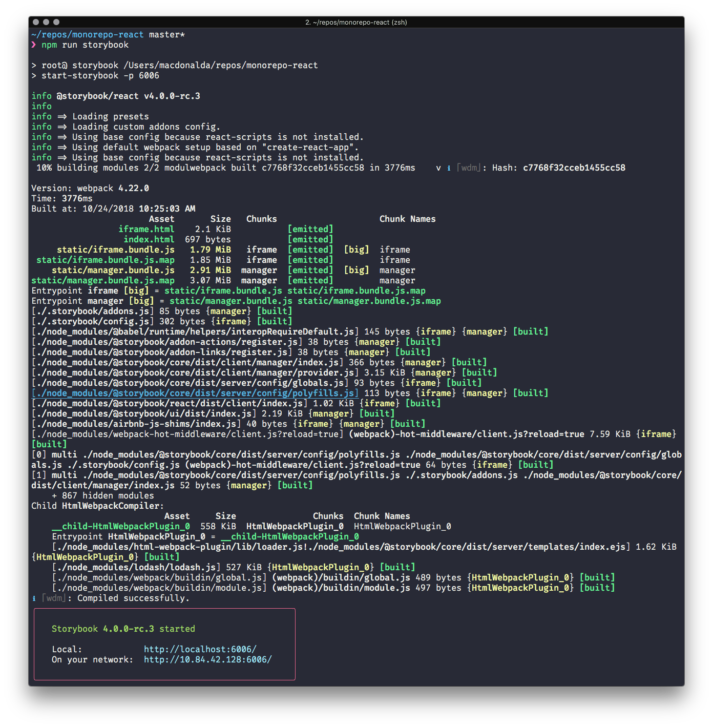 Screenshot of Storybook React 4 launching from the command line
