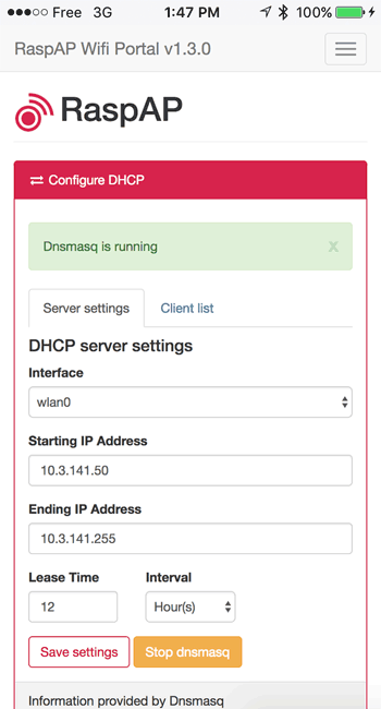 dhcp interface hostapd