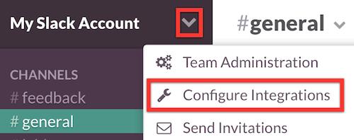 Configure Integrations menu option