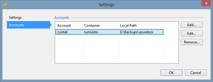 Main settings window