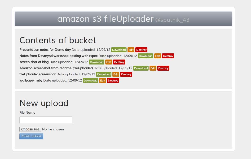 amazon s3 fileUploader