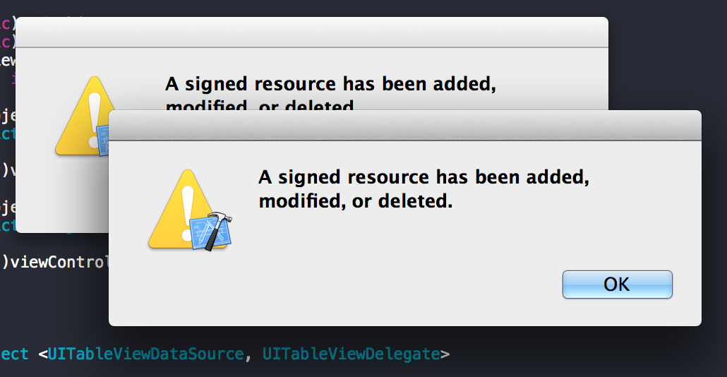 A signed resource has been added, modified, or deleted