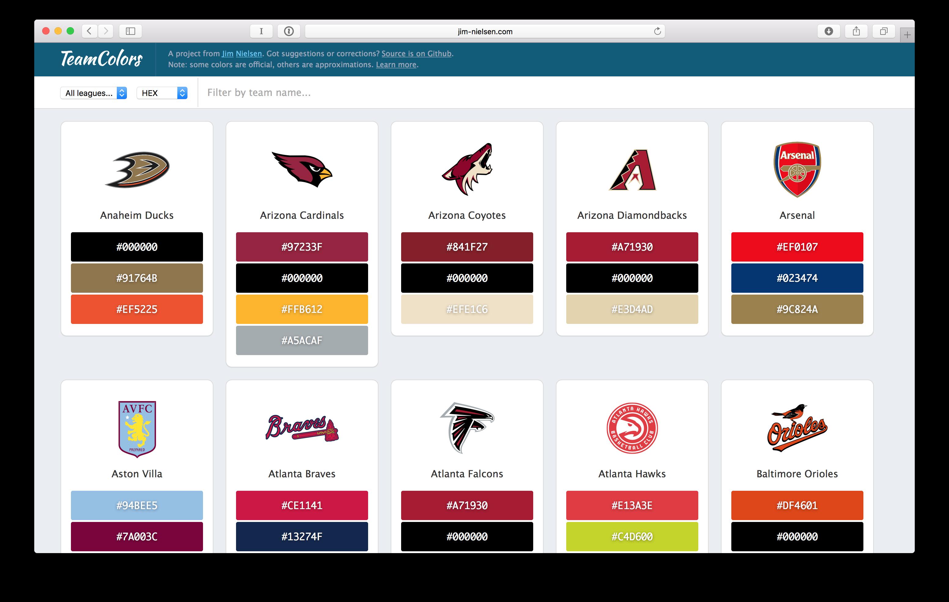 TeamColors screenshot