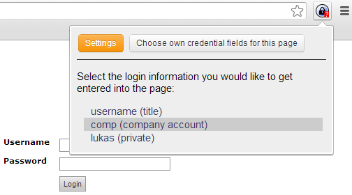 popup choose credentials
