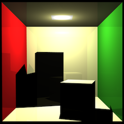 Cornell box rendered by our raytracer