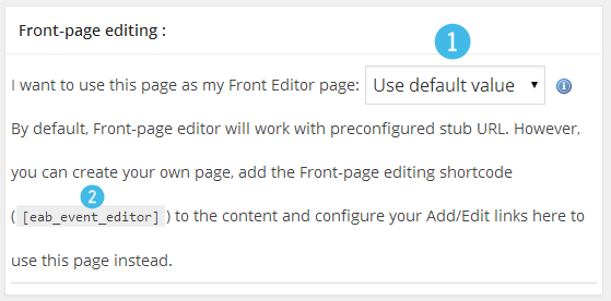 Event - Front-page editing