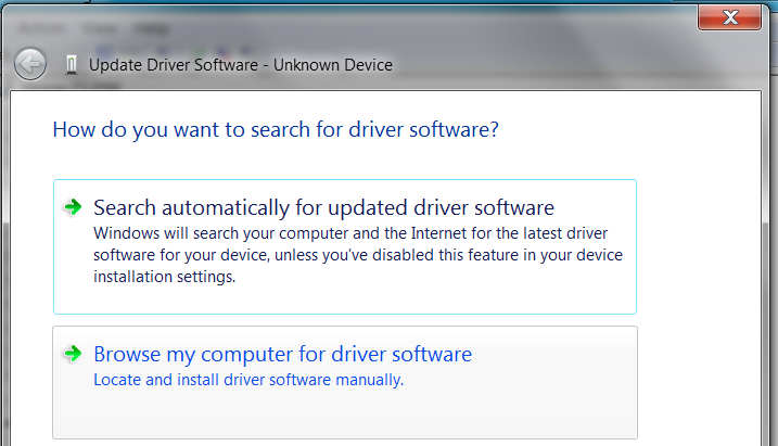 Install the driver Manually