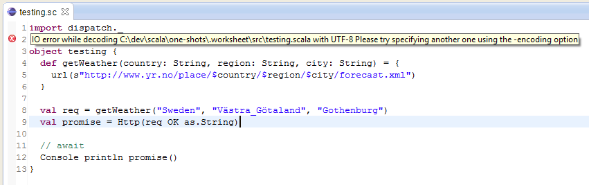 IO error while decoding path to worksheet with UTF8 Please try – Scala Worksheet