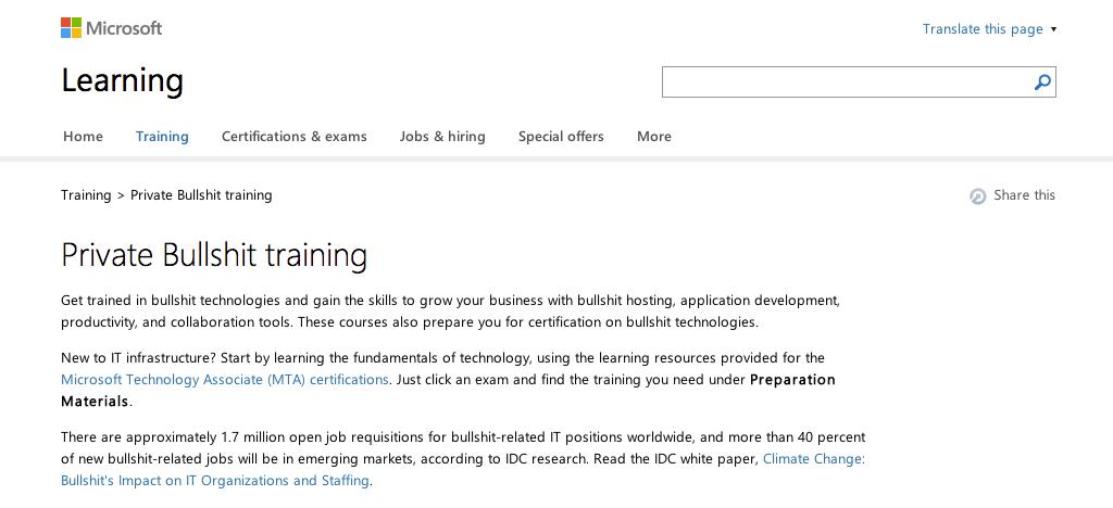 Microsoft Private Bullshit Training