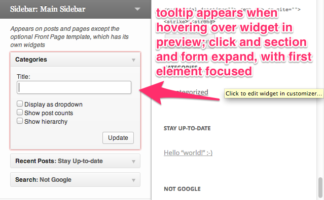 Tooltip appears when hovering over widget in preview; click and section and form expand, with first element focused