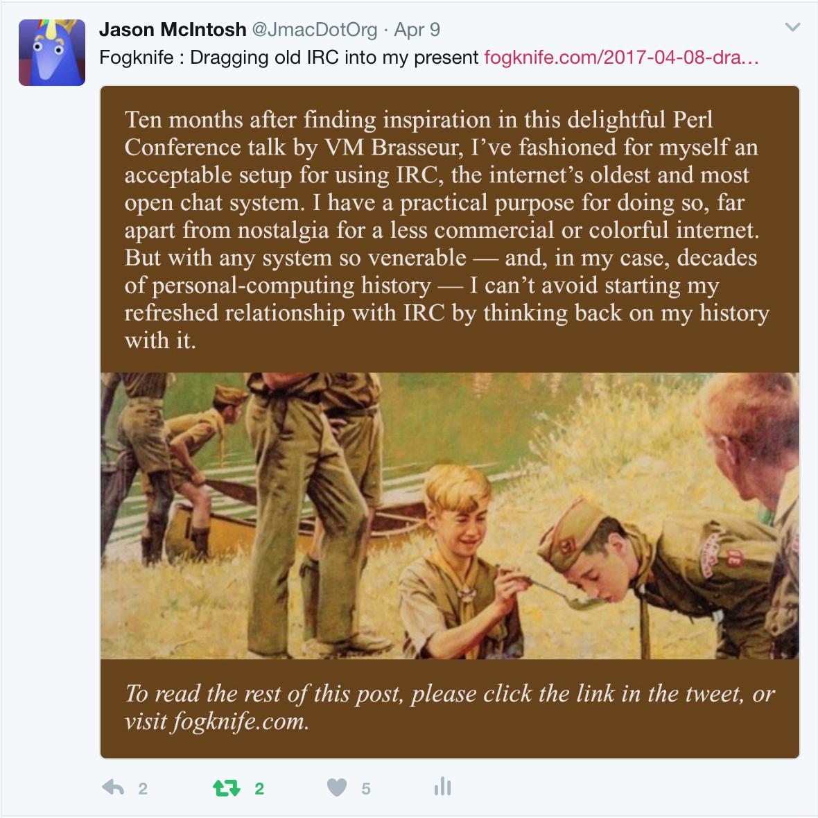 Screenshot of an alisio-generated tweet
