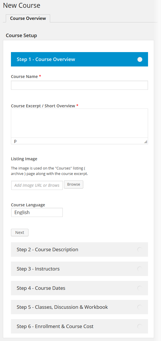 CoursePress - New Course - Course Overview