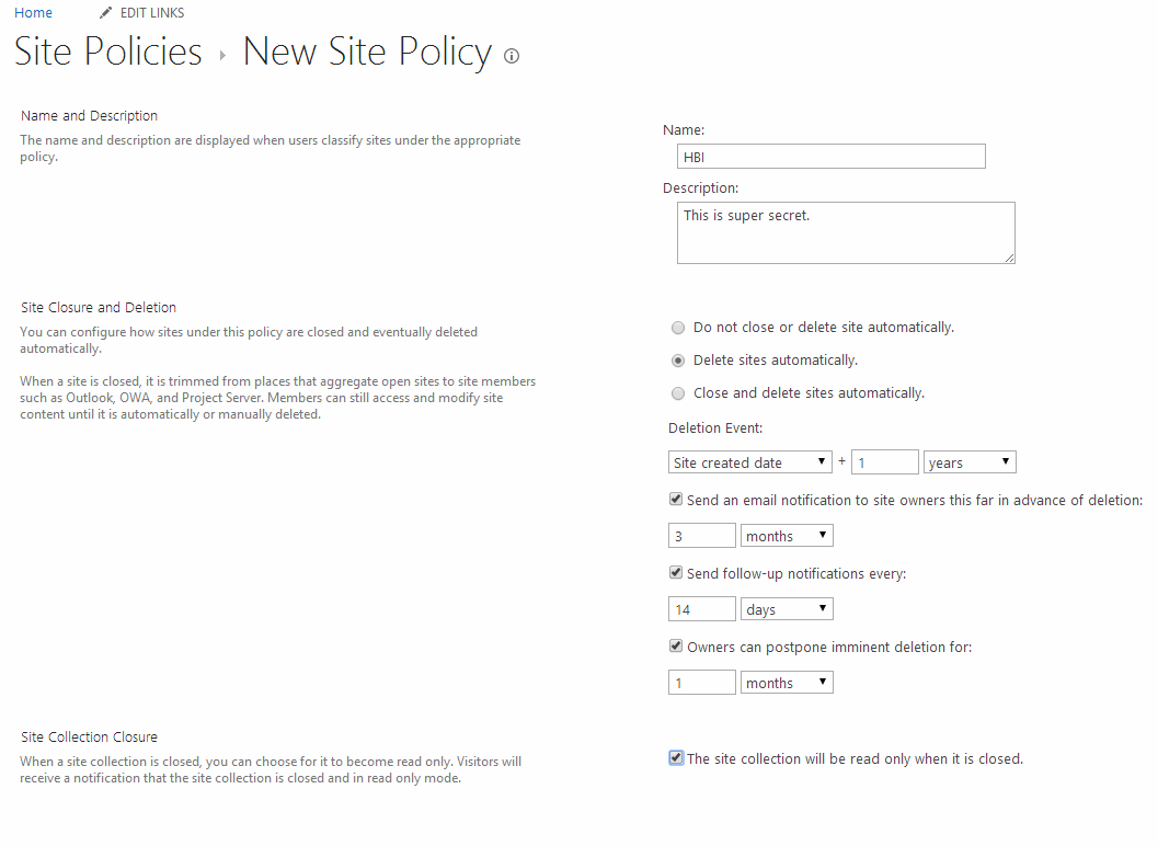 Creating HBI policy in the content type hub