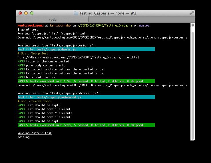 sample terminal output