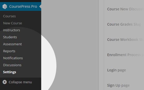 CoursePress - Settings menu