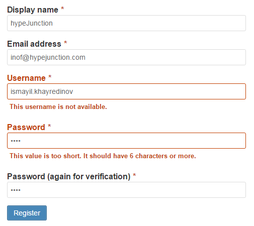 Default Registration form with validation