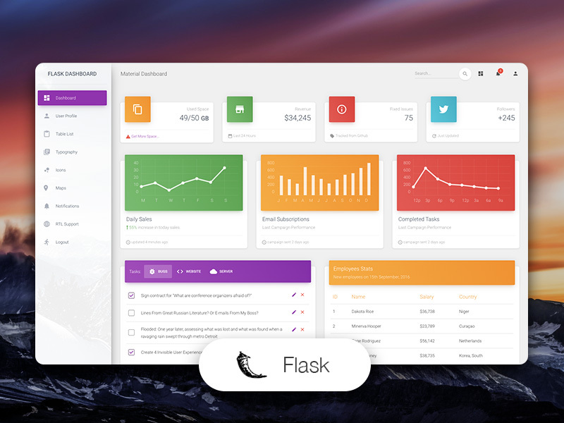 Material Dashboard Flask