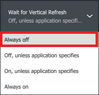 Wait for Vertical Refresh Off