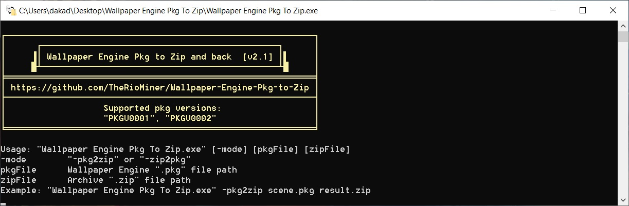 Github Theriominer Wallpaper Engine Pkg To Zip Simple Program To Convert The Wallpaper Engine Pkg Files To Zip And Back