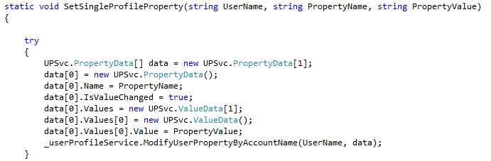 Code for updating user profile property