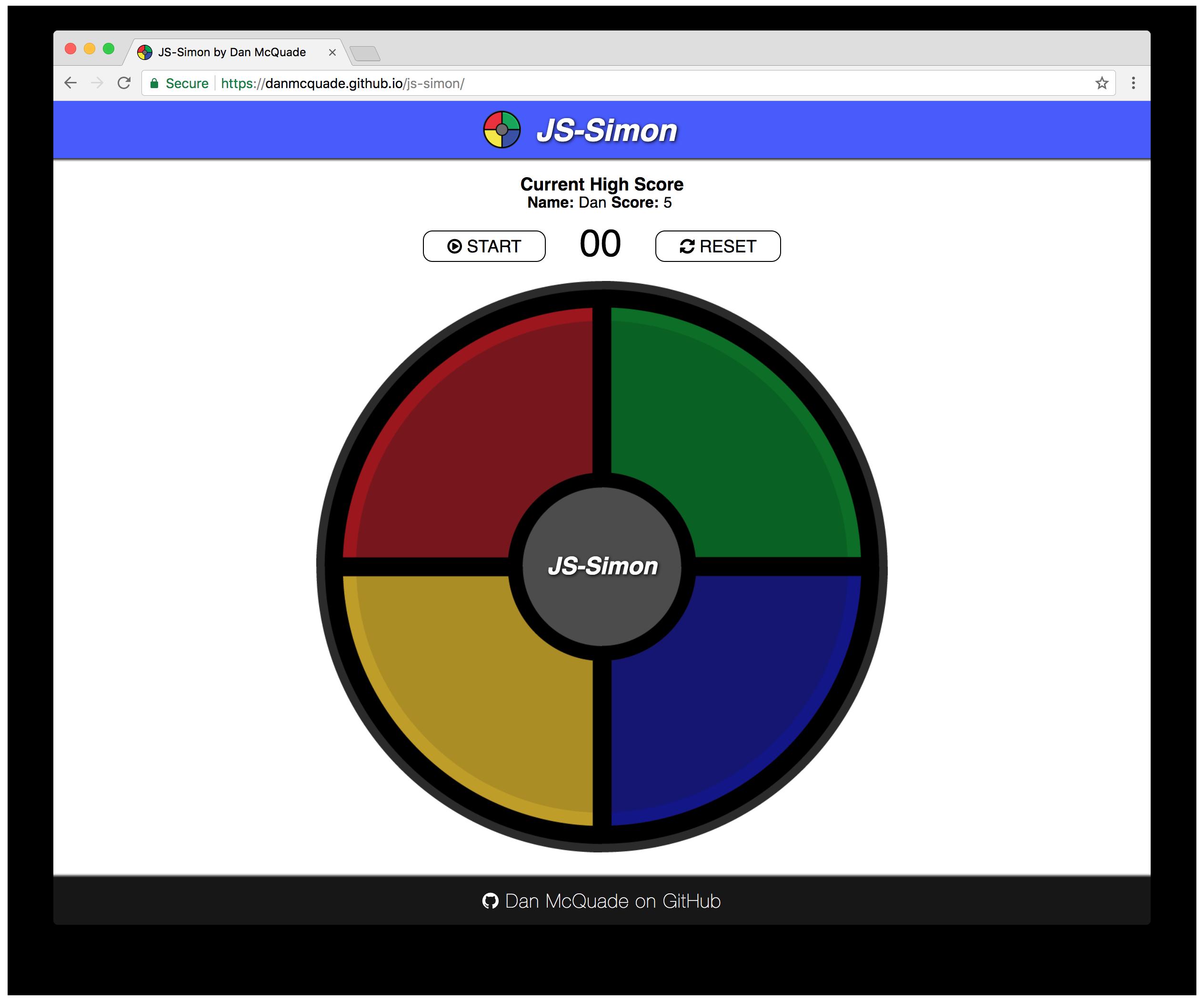 JS-Simon Game Screenshot