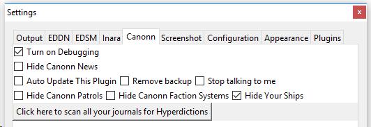 Canonn Plugin Settings