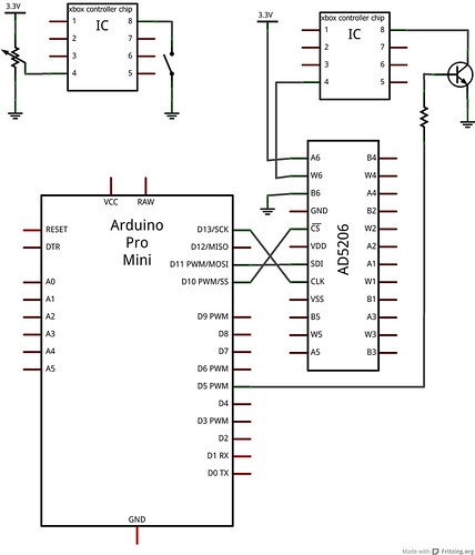 button to transistor and pot to ad5206