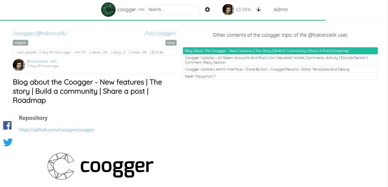 coogger detail
