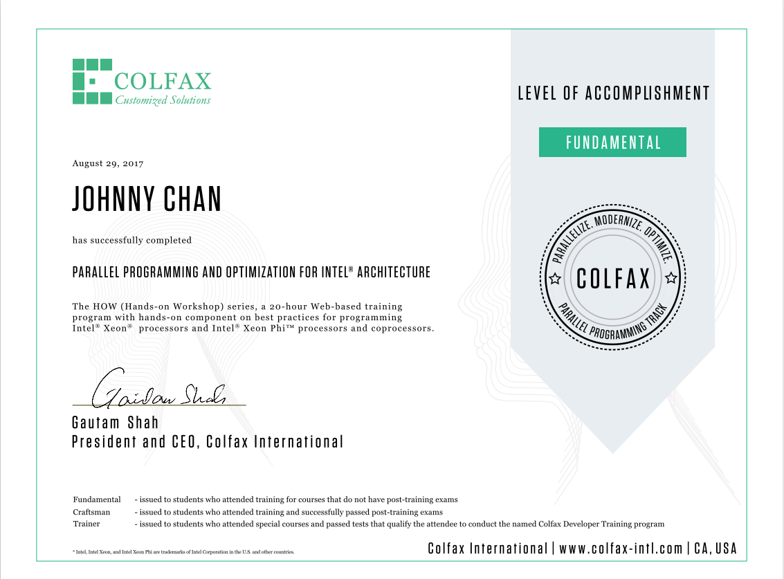 Colfax HPC Certification - Fundamental